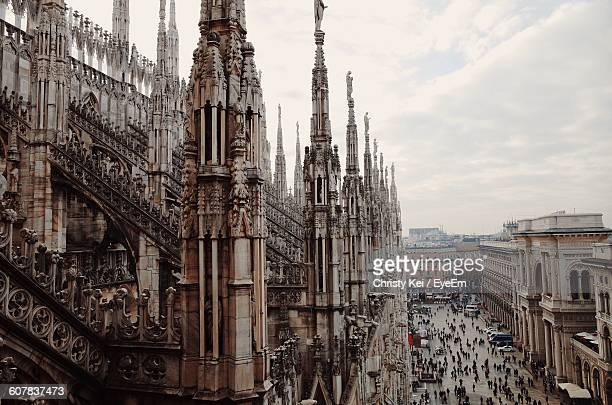 High Angle View Of Duomo Di Milano Against Sky