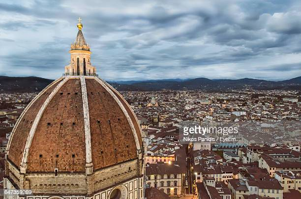 High Angle View Of Duomo Santa Maria Del Fiore Against Cloudy Sky