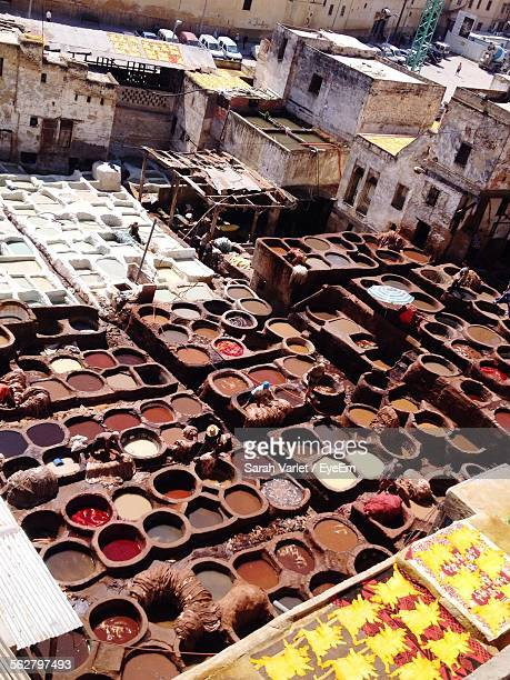 High Angle View Of Dye Factory