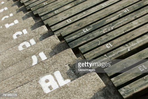 High angle view of empty bleacher seats in a stadium : Stock Photo