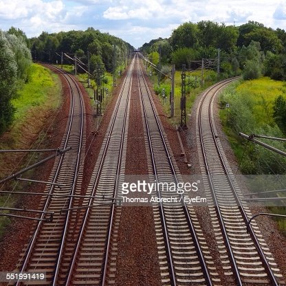 High Angle View Of Empty Railroad Tracks