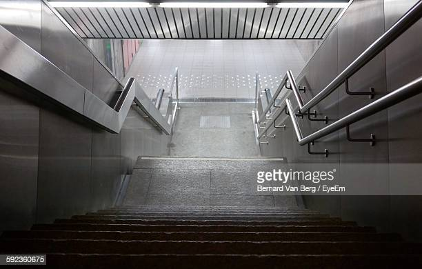 High Angle View Of Empty Staircase At Subway