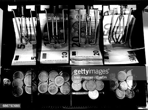 High Angle View Of European Union Currency