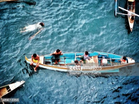 High angle view of family in boat