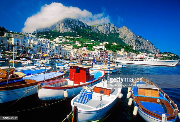High angle view of fishing boats anchored at harbor, Marina Grande, Capri, Italy
