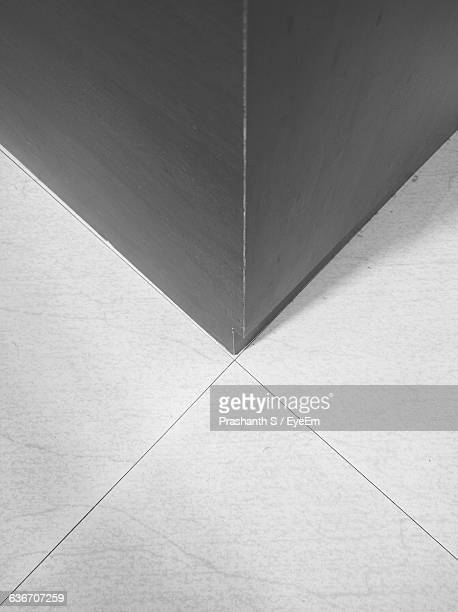 High Angle View Of Floor By Wall