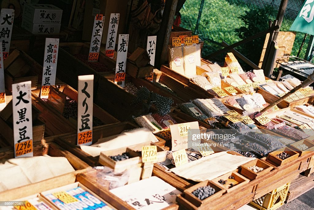 High Angle View Of Food In Wooden Crates For Sale At Market Stall