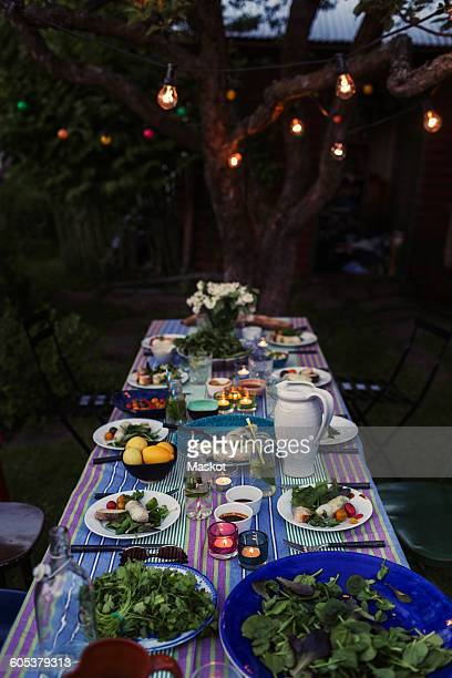 High angle view of food served on dining table for dinner party at yard