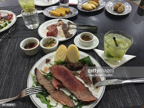 High Angle View Of Food Served On Plate