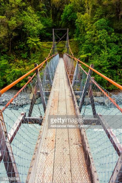 High Angle View Of Footbridge Over River Against Trees At Forest