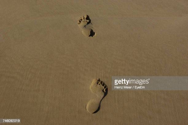 High Angle View Of Footprints At Sandy Beach