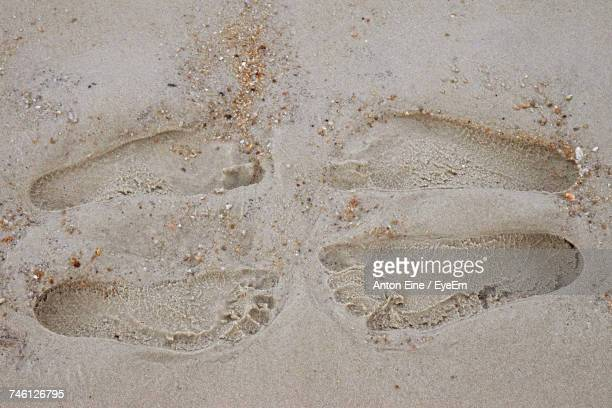 High Angle View Of Footprints On Wet Sand At Beach