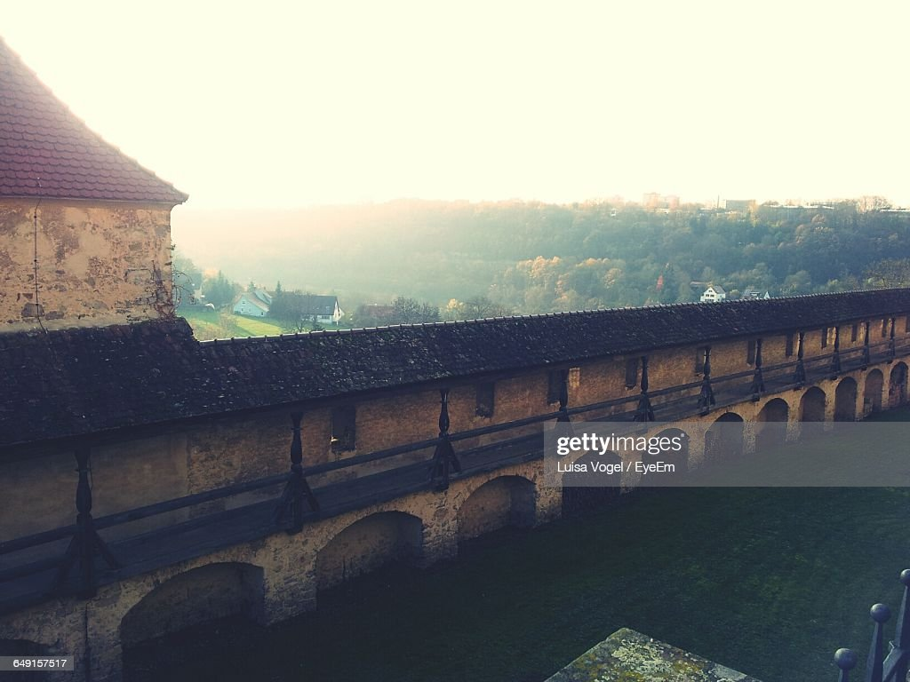 High Angle View Of Fortified Wall Of Comburg Against Clear Sky