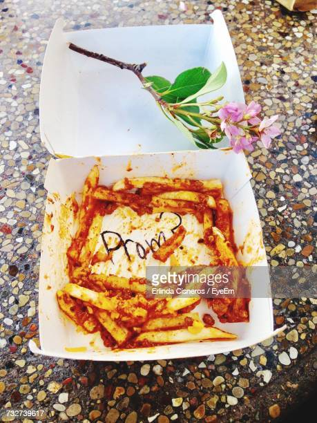 High Angle View Of French Fries In Container