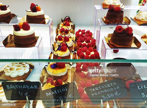 High Angle View Of Fresh Cakes In Shop