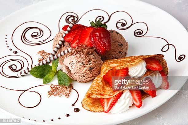 High Angle View Of Fresh Dessert Served In Plate