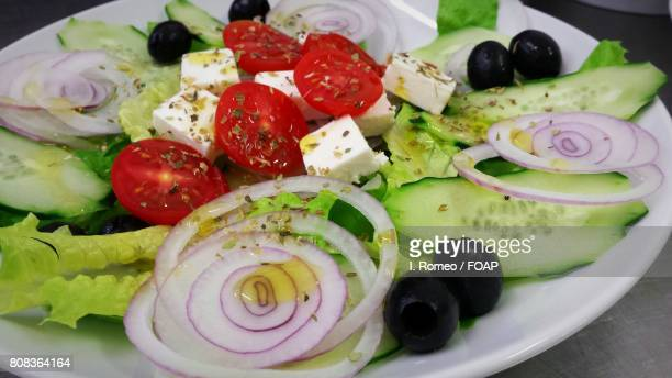 High angle view of fresh foods