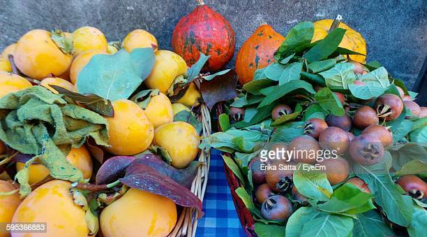 High Angle View Of Fresh Fruits On Table