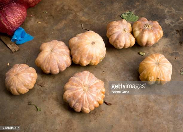 High angle view of fresh pumpkins on floor