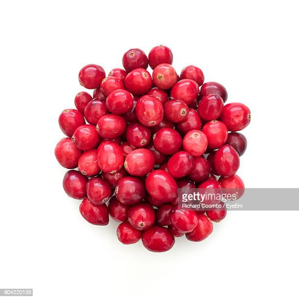 High Angle View Of Fresh Red Cranberries Heap On White Background