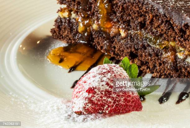 High Angle View Of Fresh Sachertorte Served In Plate