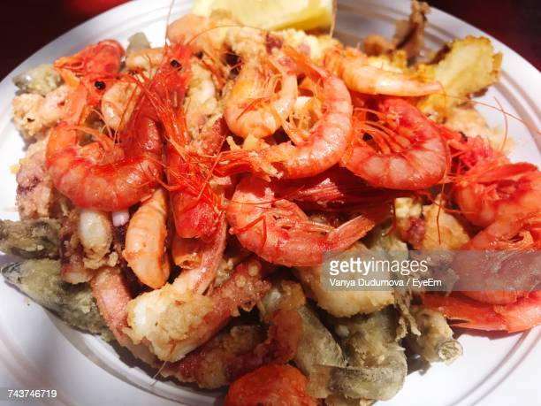 High Angle View Of Fresh Seafood Served In Plate