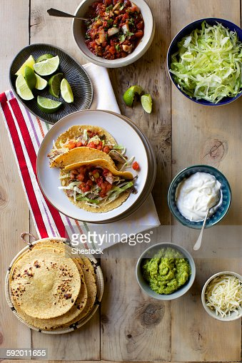 High angle view of fresh taco ingredients
