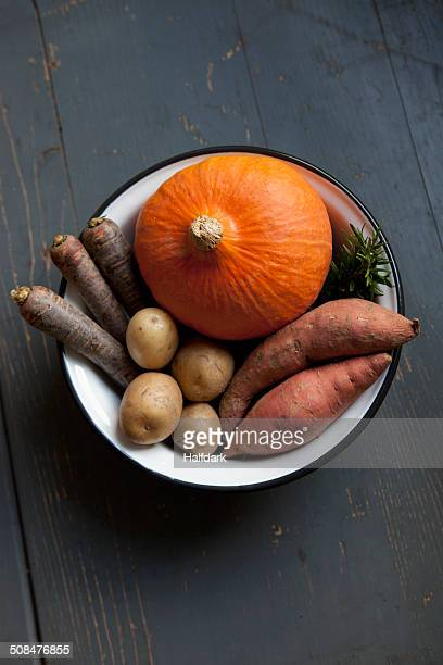 High angle view of fresh vegetables in bowl on table