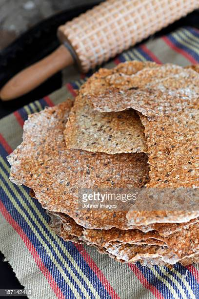 High angle view of freshly baked crisp bread