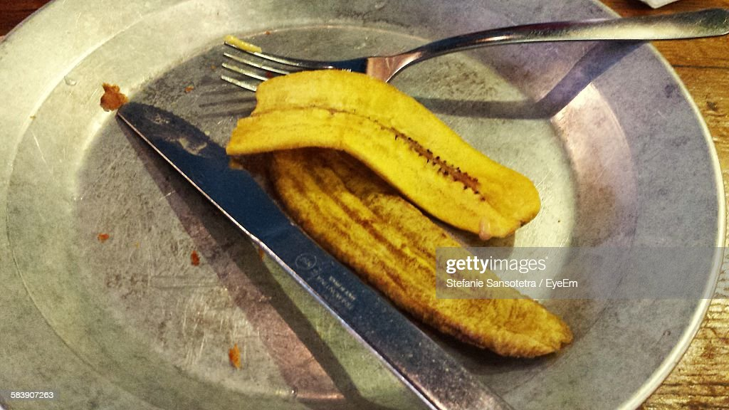 High Angle View Of Fried Plantains In Plate