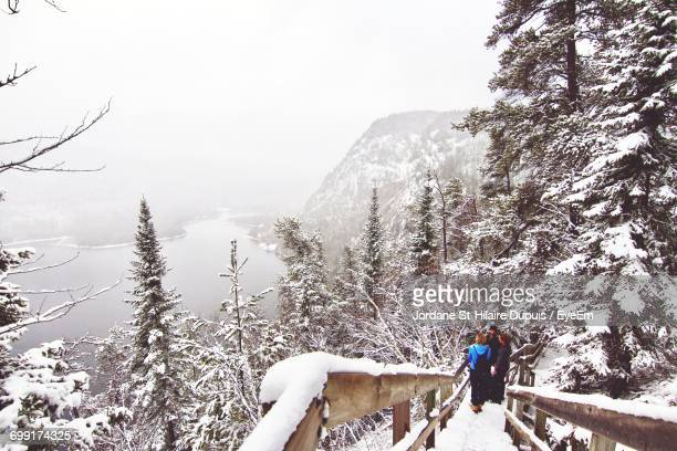 High Angle View Of Friends Standing On Snow Covered Mountain Against Trees