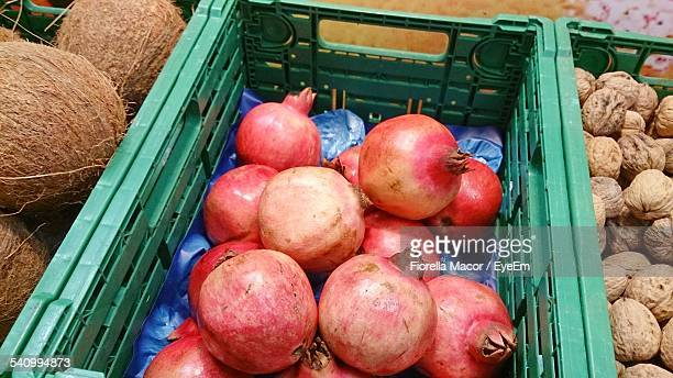 High Angle View Of Fruits In Containers