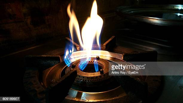 High Angle View Of Gas Stove Burner In Kitchen