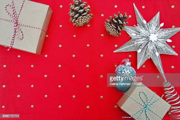 High angle view of gift box with Christmas decoration