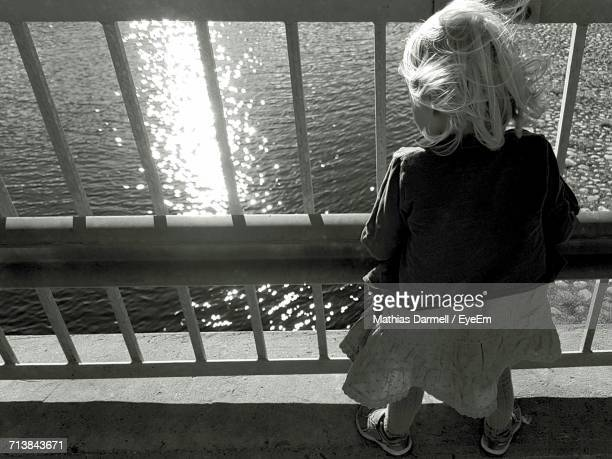 High Angle View Of Girl Standing By Railing Against Sea