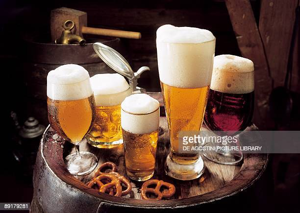 High angle view of glasses of beer on a tray