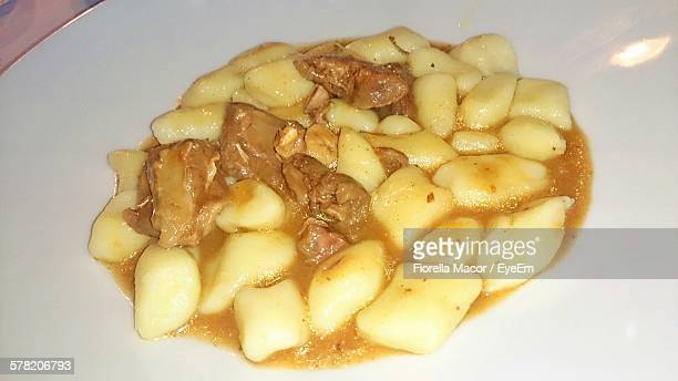 High Angle View Of Gnocchi With Venison In Plate