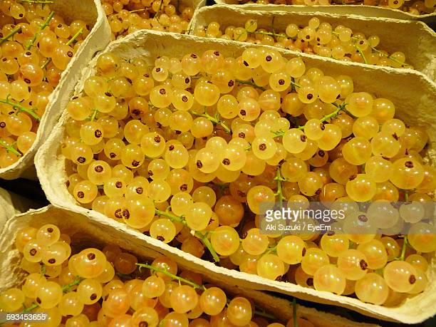 High Angle View Of Gooseberries In Containers For Sale