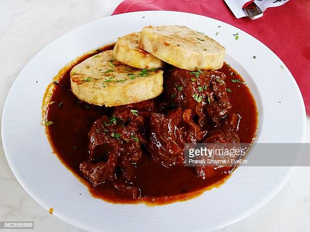 High Angle View Of Goulash Served In Plate