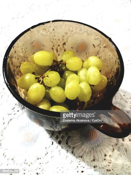 High Angle View Of Grapes In Cup