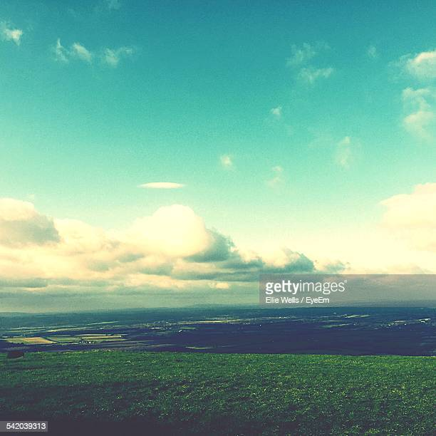 High Angle View Of Grassy Landscape Against Sky