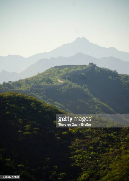 High Angle View Of Great Wall Of China On Mountains