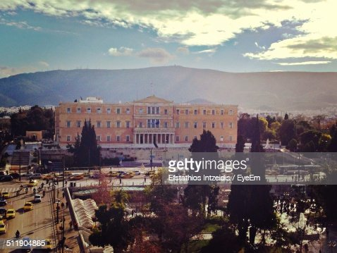 High angle view of Greek Parliament building against cloudy sky