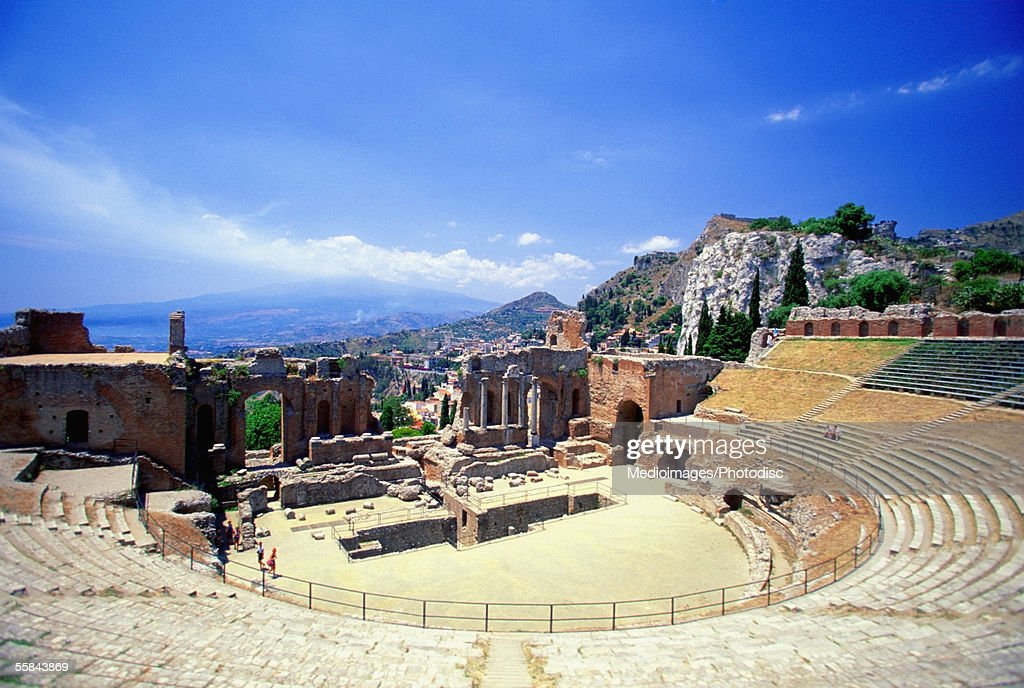 High angle view of Greek theater, Sicily, Taormina, Italy