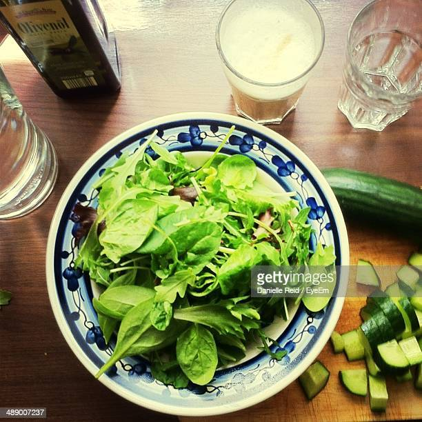 High angle view of green salad on table