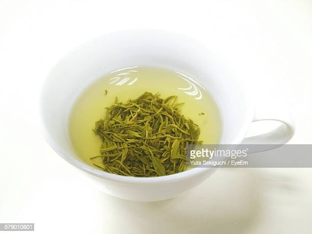 High Angle View Of Green Tea On White Background