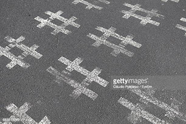 High Angle View Of Hashtags On Road