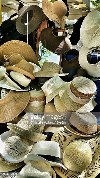 High Angle View Of Hats For Sale