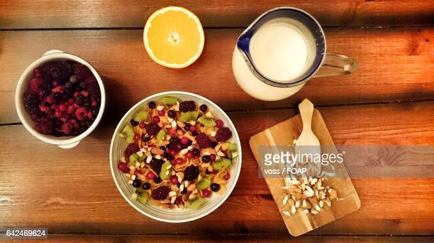 High angle view of healthy breakfast