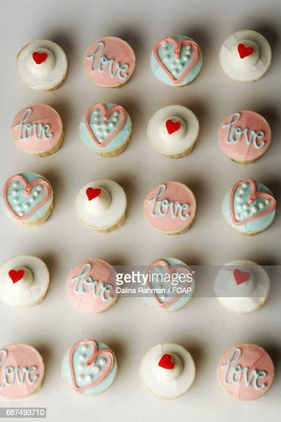 High angle view of heart shape cupcakes